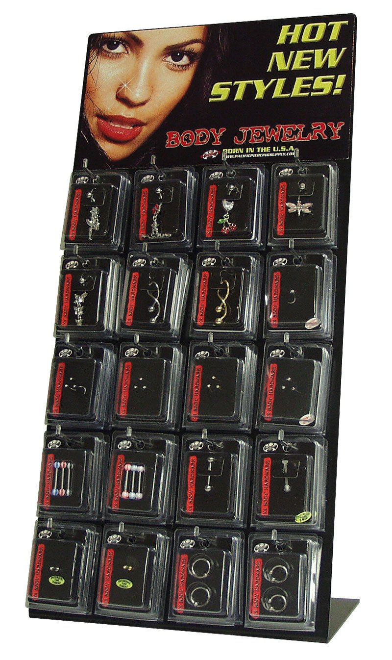 Pacific Piercing Body Jewelry 48pc. Counter Top Stand-Up Fashion Display