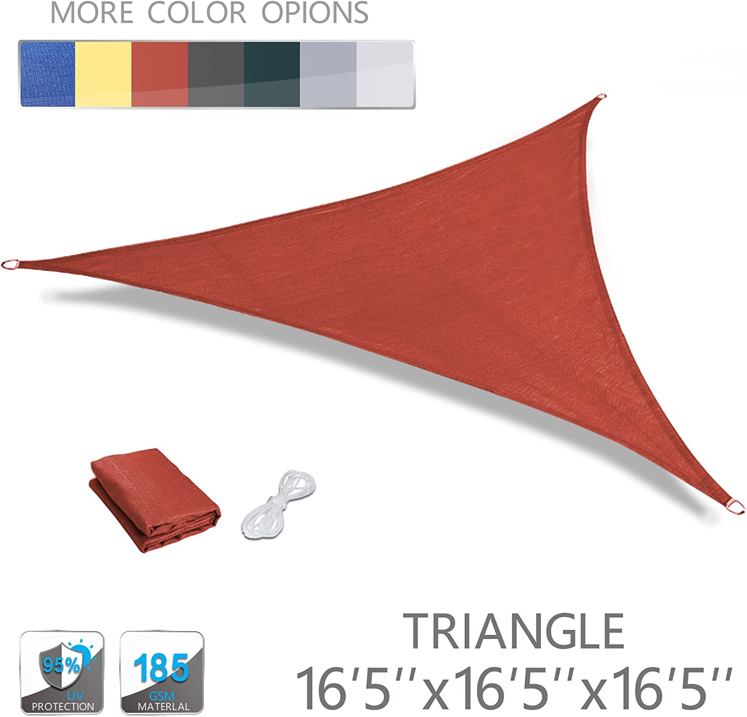 LOVE STORY 16 5 x 16 5 x 16 5 Triangle Terra UV Block Sun Shade Sail Perfect for Outdoor Patio Garden