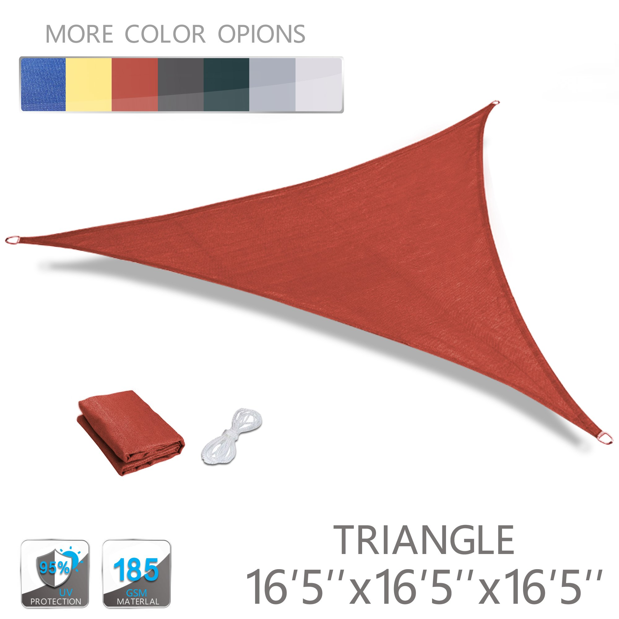 Love Story 16'5'' x 16'5'' x 16'5'' Triangle Terra UV Block Sun Shade Sail Perfect for Outdoor Patio Garden by Love Story