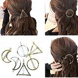 Cuhair Lot de 6 pinces à cheveux minimalistes Dainty punk en métal doré, argent, creux, géométrique, motif cercle, triangle et lune