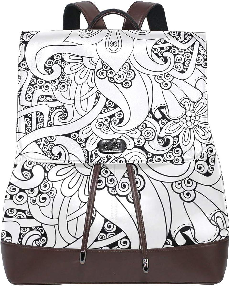 KEAKIA Women PU Leather African Background Backpack Purse Travel School Shoulder Bag Casual Daypack
