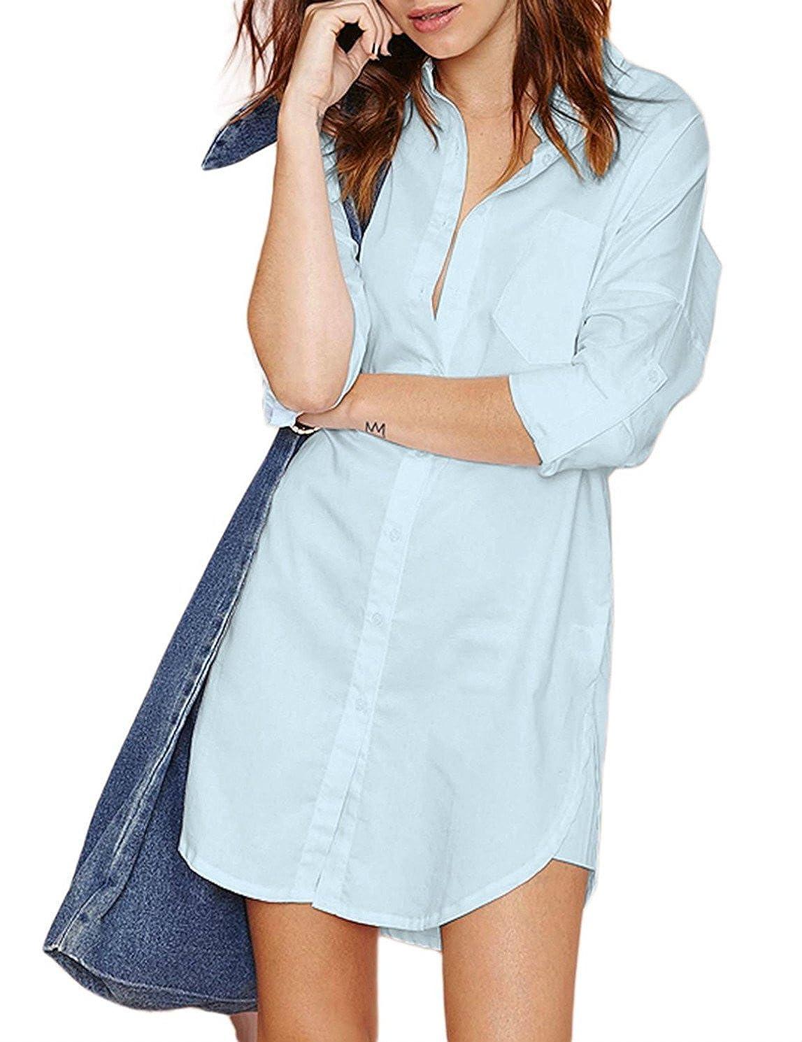 bluee HAOYIHUI Women's Casual Long Sleeve Boyfriend Pocket Shirt Dress Tunic Top