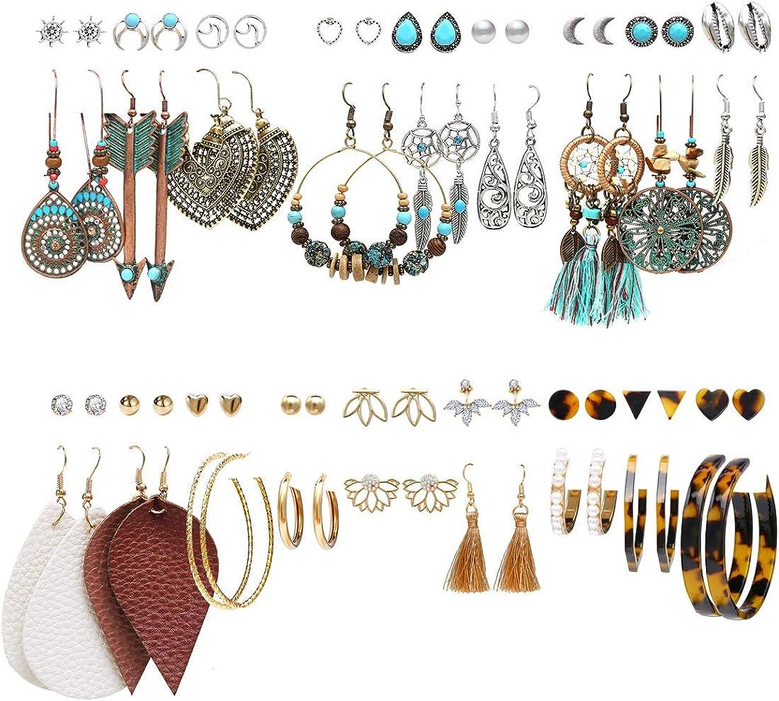 6 Pcs Boho Moon Star Cross Earrings Set Bohemian Tassel Hoop Stud Dangle Drop