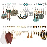 36 Pairs Bohemian Tassel Earrings Set Vintage National Style Leather Heart Shape Earrings Acrylic Stud Hoop Drop Dangle…