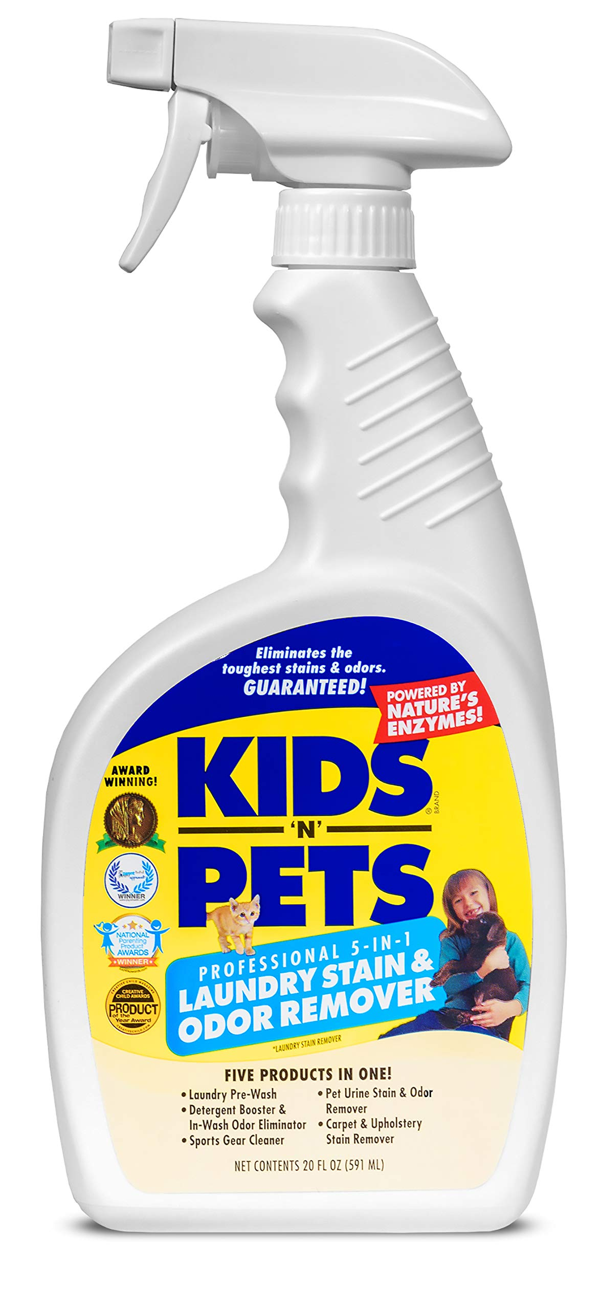 KIDS 'N' PETS - 5-In-1 Laundry Stain & Odor Remover - 20 oz (591 ml) - Professional Strength Formula Eliminates Tough Stains & Odors - No Harsh Chemicals, Non-Toxic & Child Safe by KIDS 'N' PETS