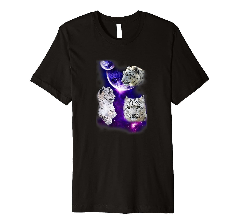 Three Snow Leopard Moon Galaxy T-Shirt-AZP