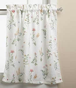 LORRAINE HOME FASHIONS English Garden 55-inch x 36-inch Tier Curtain Pair, White/Multi