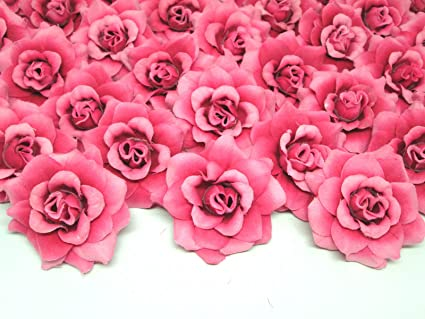 Amazon 100 silk fuchsia roses flower head 175 100 silk fuchsia roses flower head 175quot artificial flowers heads fabric mightylinksfo