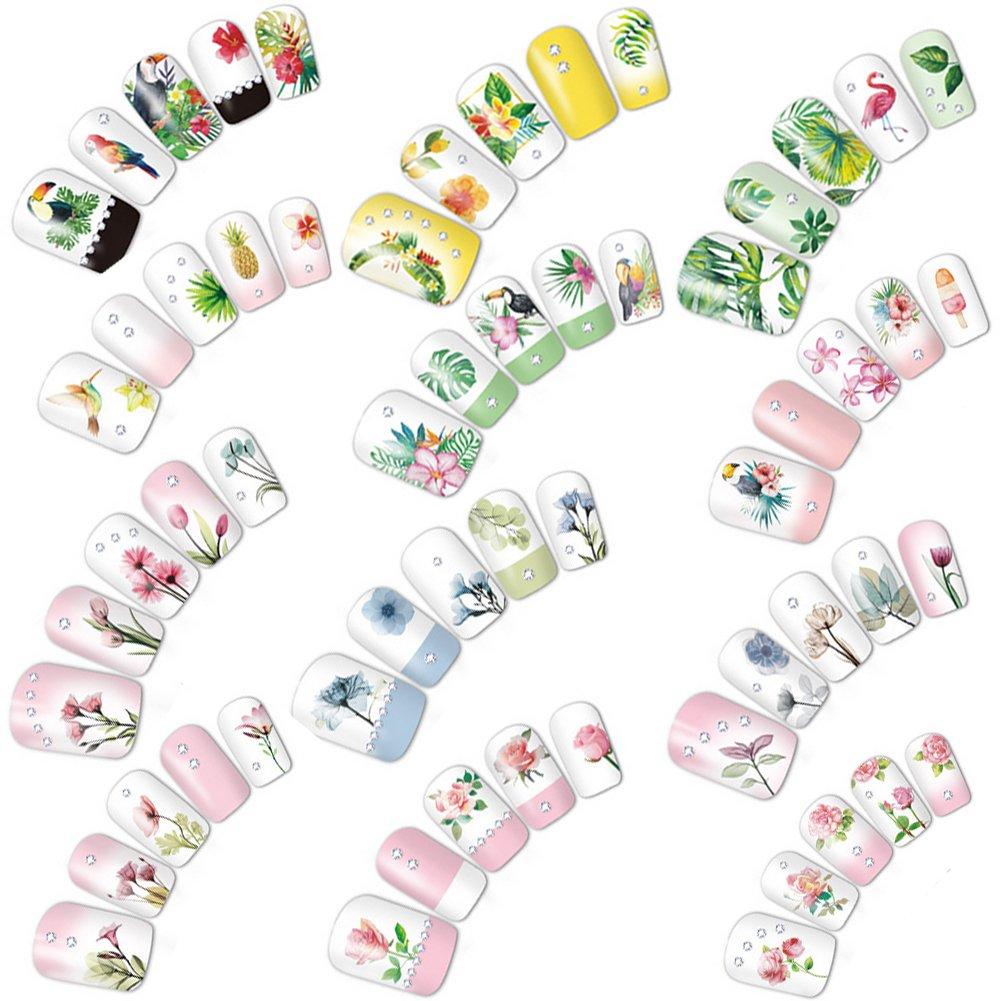 aiuin 12feuilles Nail Art Stickers Autocollants 3d étanche Petit frais Style Décoration Nail Art Stickers Autocollants Nail Tips