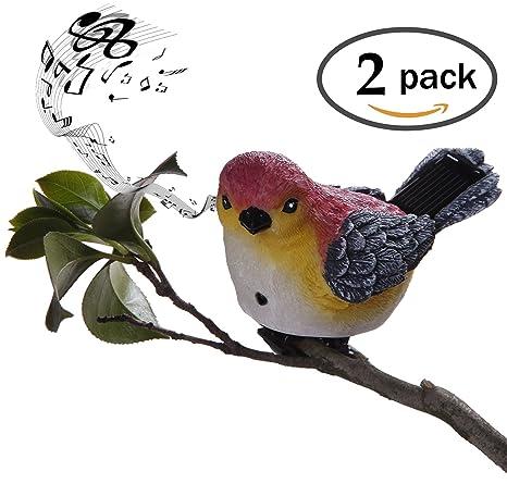 Superb Grand Patio Solar Powered Motion Sensor Singing Bird Lights 2PCS,  Waterproof Painted Resin Sparrow Decorative