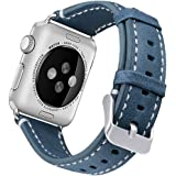 Band for Apple Watch 38MM 42MM, UMAXGET Genuine Leather Replacement Wristband (Vintage Style) Accessories for Apple Watch Nike/Series 1&2&3/Sport Edition