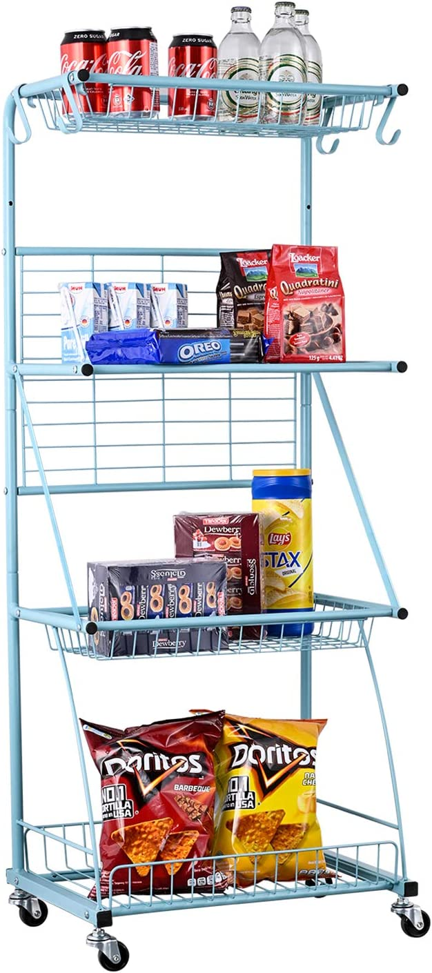 Mythinglogic 4-Tier Metal Storage Shelves with Wheels,Mesh Wire Rolling Utility cart,Storage Organizer for Food,Sports Equipment, Fitness, Toys