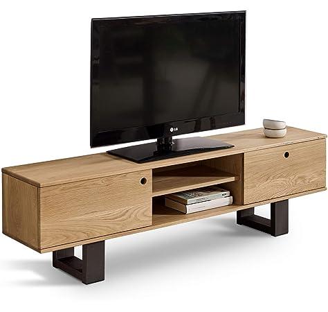 TV Roble 140 cm- Mesa TV, Mesa para Televisión Madera Maciza ...