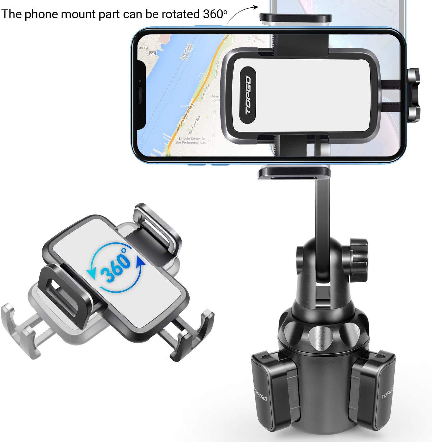 Blue Car-Cup-Holder-Phone-Mount Adjustable Pole Automobile Cup Holder Smart Phone Cradle Car Mount for iPhone 11 Pro//XR//XS Max//X//8//7 Plus//6s//Samsung S10 //Note 9//S8 Plus//S7 Edge