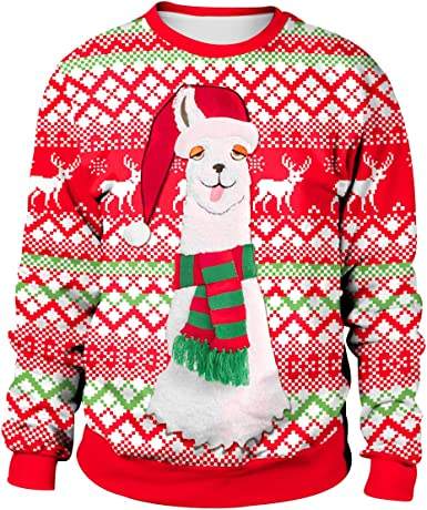 Christmas Jumpers Womens Mens Funny Xmas Jumpers Sweatshirts Novelty Ugly Christmas Sweaters Pullover Reindeer Festive Santa Christmas Jumper Graphic