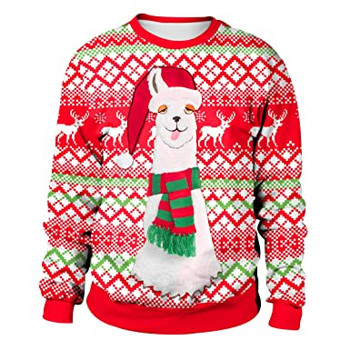 le dernier cd992 8b8d7 Pull Noel Homme Imprimé Pulls De Noël Femme Unisexe Sweat Shirt Noel Moche  Oversize Pull Over Renne Cerf Sweatshirt Col Rond Christmas Drole ...