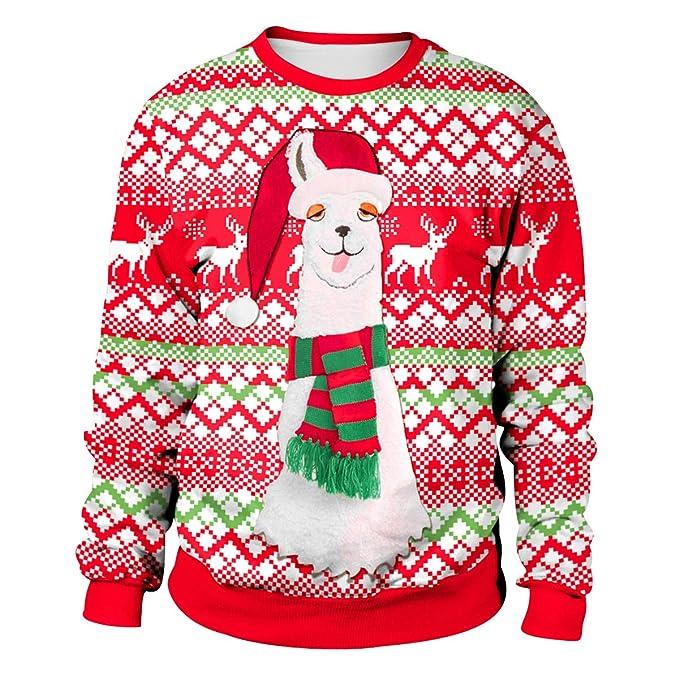 Sudadera Navidad Estampadas Sudaderas Navideñas Unisex Jersey Sueter  Navideño Hombre Mujer Reno Sweaters Pullover Cuello Redondo Largas Chica  Anchas ... 6cb1e3aa1975
