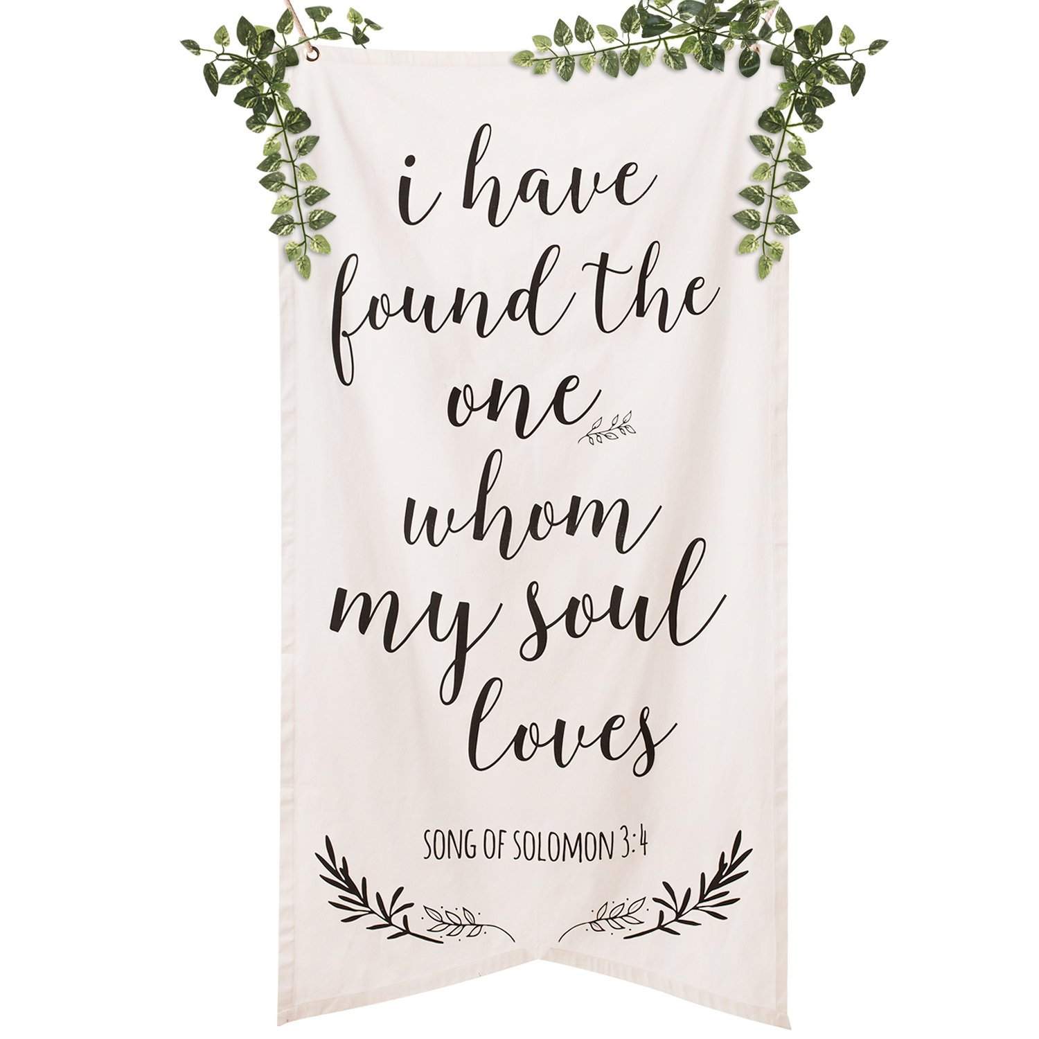Ling'smomentSpring Garden WeddingSignage Cotton CanvasOversizedPennantBannerCalligraphy Ceremony BackdropReligious''Ihavefoundtheonewhommysoulloves''QuoteBibleVerse by Ling's moment