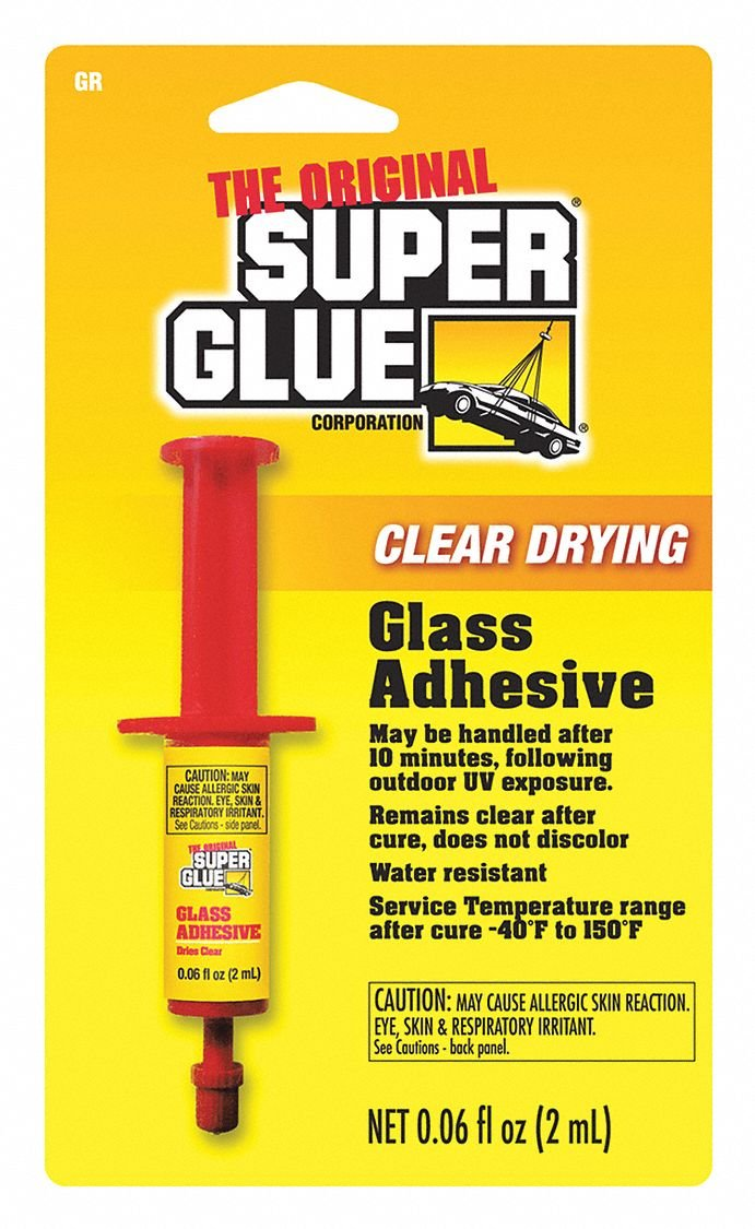 Super Glue 0.06 fl. oz. Glass Adhesive with Temp. Range of -40 to 150 Degrees F, Clear GR-48-1 Each