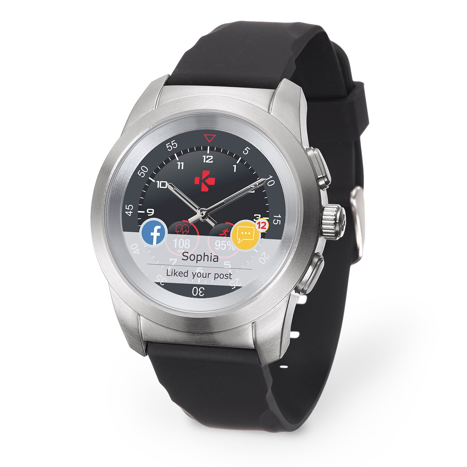 MyKronoz ZeTime Original Hybrid Smartwatch with mechanical hands over a color touch screen – Regular Brushed Silver / Black Silicon Flat