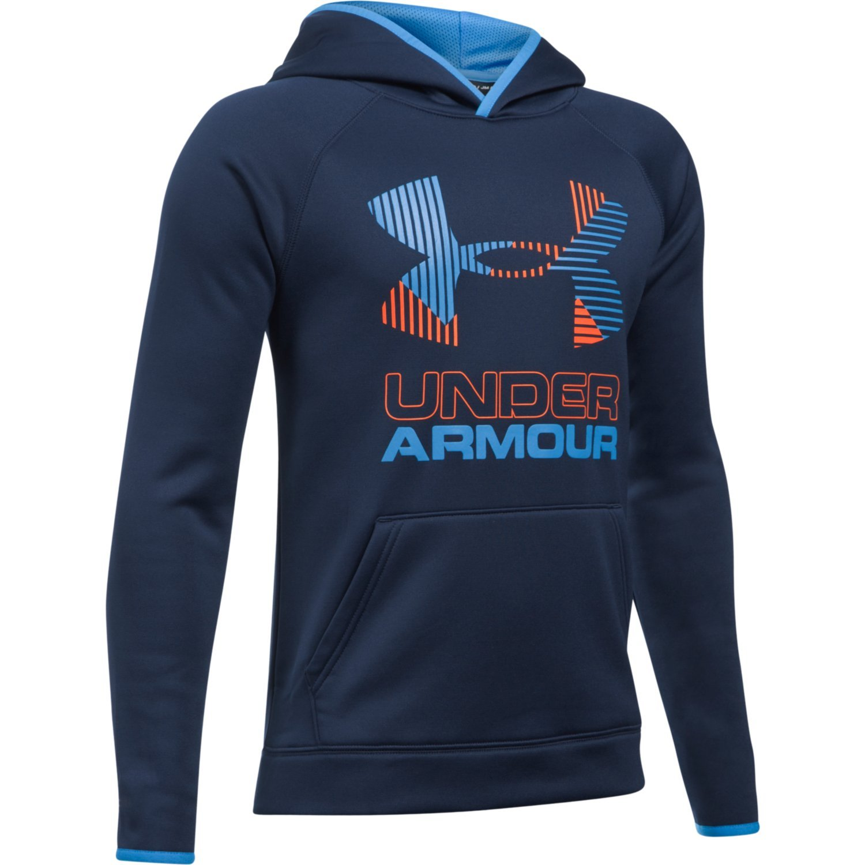 Under Armour Boy's Fleece Solid BL Hoodie Midnight Navy/Mako Blue/Magma Orange Size Small