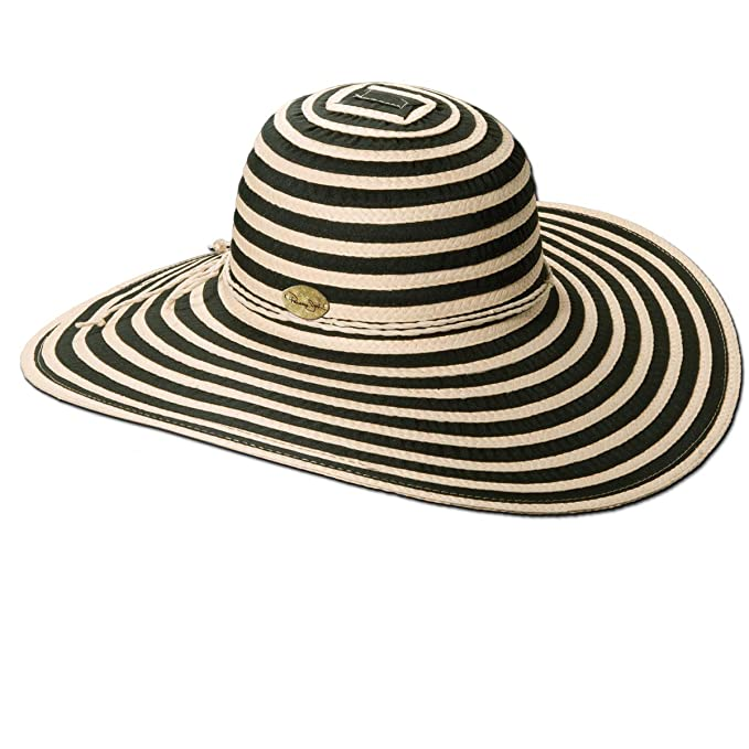 da53b4b45dc Panama Jack Women s Ribbon Toyo and Paper Braid Floppy Sun Hat with Sizing  Tie