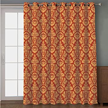 Delicieux Blackout Patio Door Curtain,Antique Decor,Royal Victorian Damask Pattern  Baroque Rococo Old Fashioned