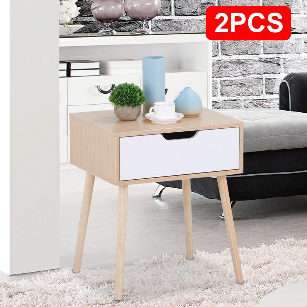 f4ad1070616 Amazon.com  Topeakmart 2Pcs Round Sofa Couch Side End Table Nighstand Coffee  Table with Storage Drawer 22.6