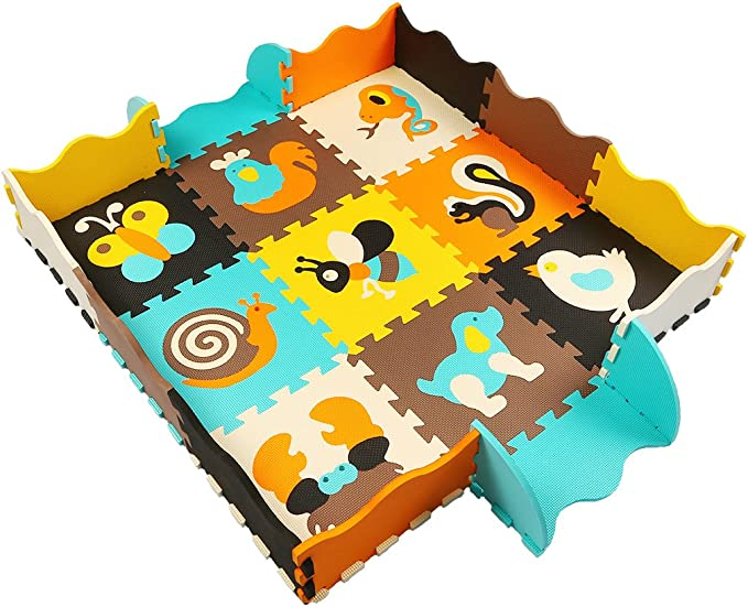 MQIAOHAM 9 Alfombra de juego con bordes Kids Multi-Color ...