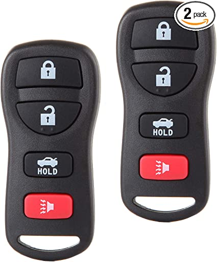 FikeyPro Keyless Entry Remote Control Car Key Fob fits Nissan Infiniti 4-Button KBRASTU15 CWTWB1U758 CWTWB1U821 2 Pack