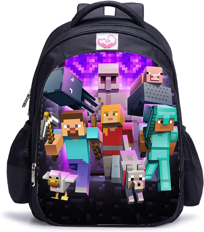 Minecraft Grand Espace 3D Impression Sac /à Dos Enfant Noir