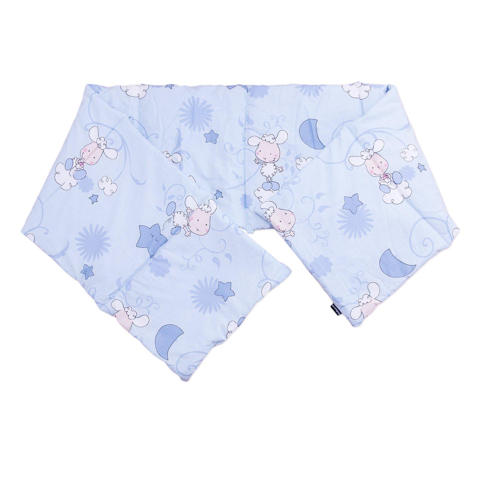 Baby Happy Lambs (Blue) / SoulBedroom Cotton Cot Bumper Pad Half (210x40 cm)