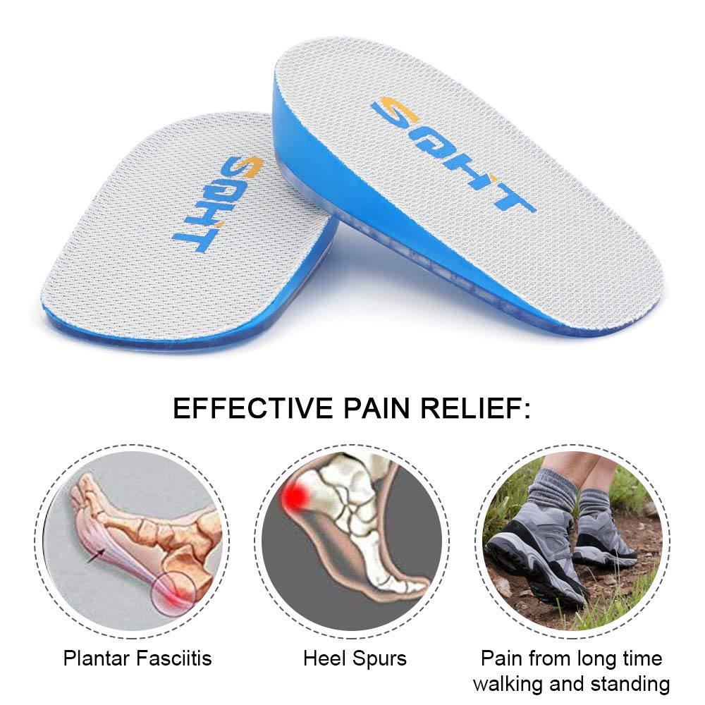 SQHT Height Increase Insoles - 1 Inch Heel Lift for Achilles Tendonitis, Heel Pain and Leg Length Discrepancy, Shoe Inserts for Men and Women (1\'\' Height)