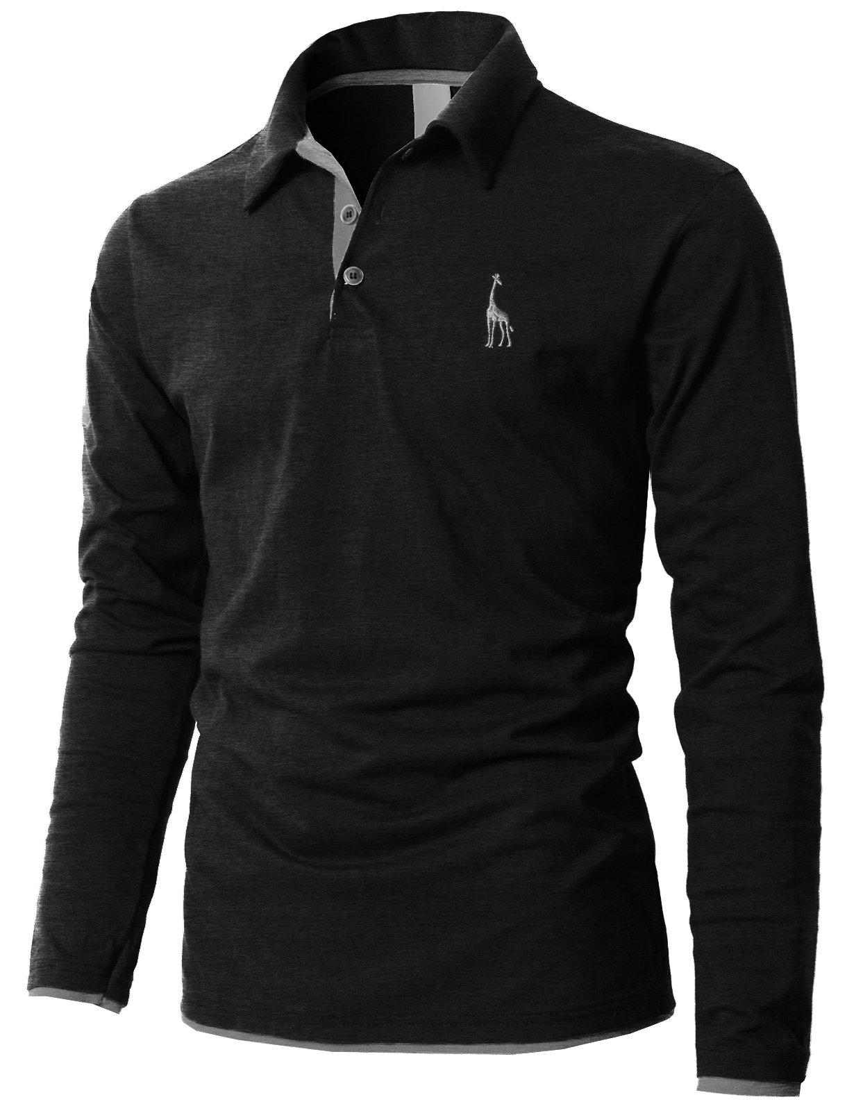H2H Men's Color Effect Collar Short Sleeve Polo T Shirt Charcoal US L/Asia 3XL (KMTTL0452)