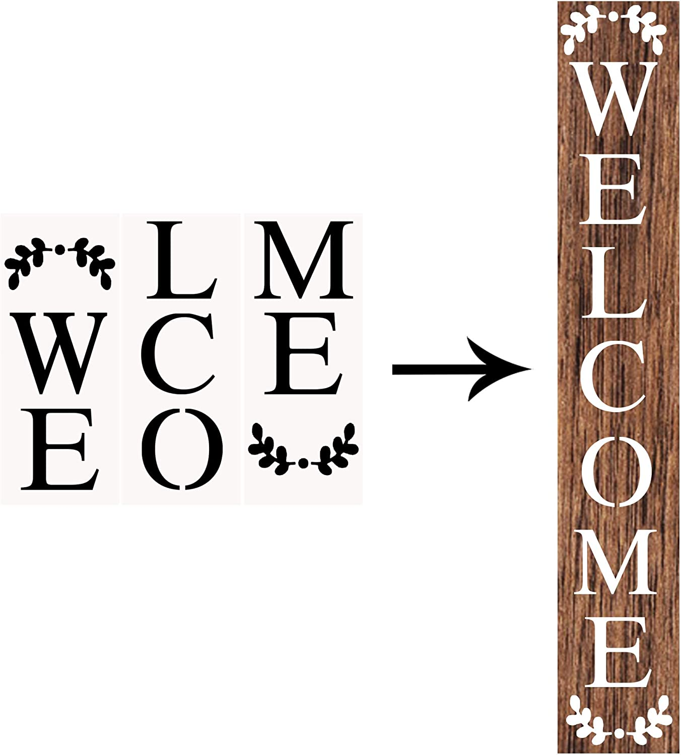 Welcome Stencils for Painting on Wood Reusable Letter Stencils for Home Patio Porch Signs /& Front Door Decorations 11 Pack Large Vertical Welcome Sign Stencil Templates for Wood Signs