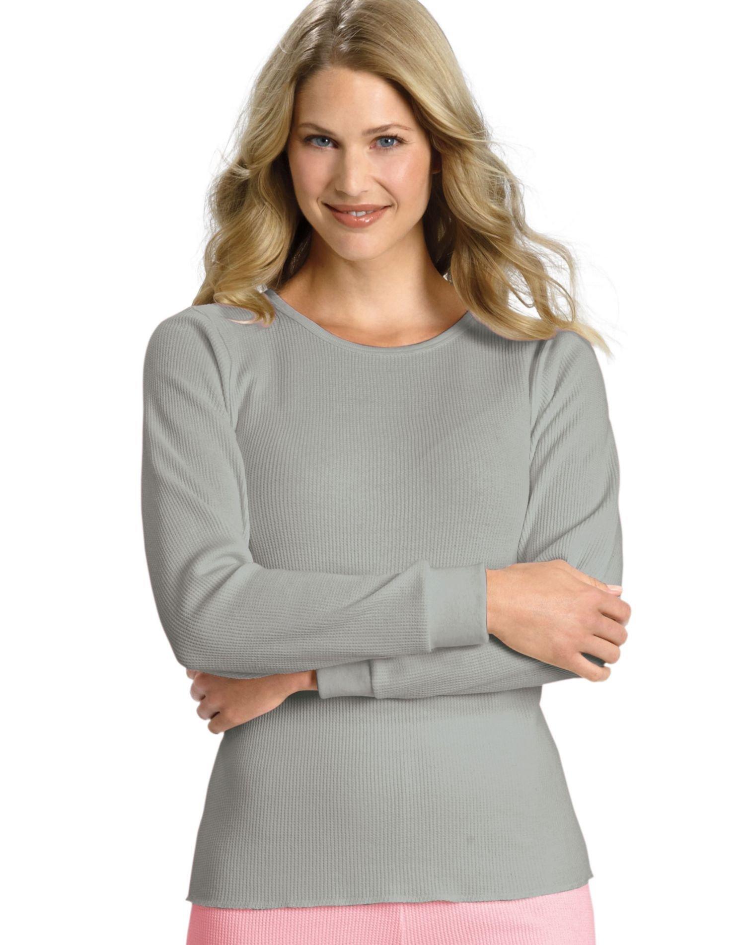 Hanes Women's X-Temp Thermal Underwear Crew Shirt, Heather Grey, Small