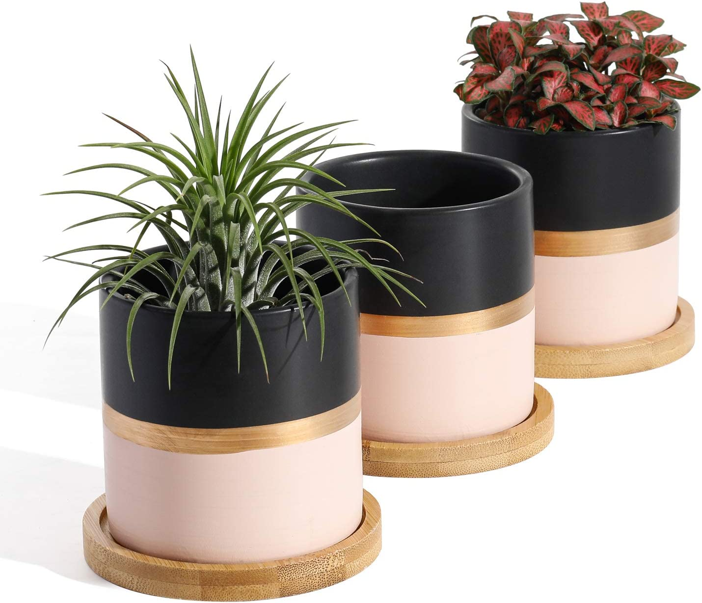 POTEY 055402 Succulent Pots Set - 3.1 Inches Ceramic Small Planters with Bamboo Saucer for Plants Succulent Cactus House Office Decor(Black Pink, 3 PCS, Plant NOT Included)