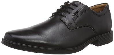 Clarks Tilden Plain, Derbies à Lacets Homme, Noir (Black Leather), 39.5