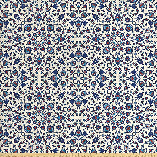 (Ambesonne Arabesque Fabric by The Yard, Moroccan Floral Pattern with Victorian Rococo Baroque Design, Decorative Fabric for Upholstery and Home Accents, 1 Yard, Cream Indigo Vermilion Blue)