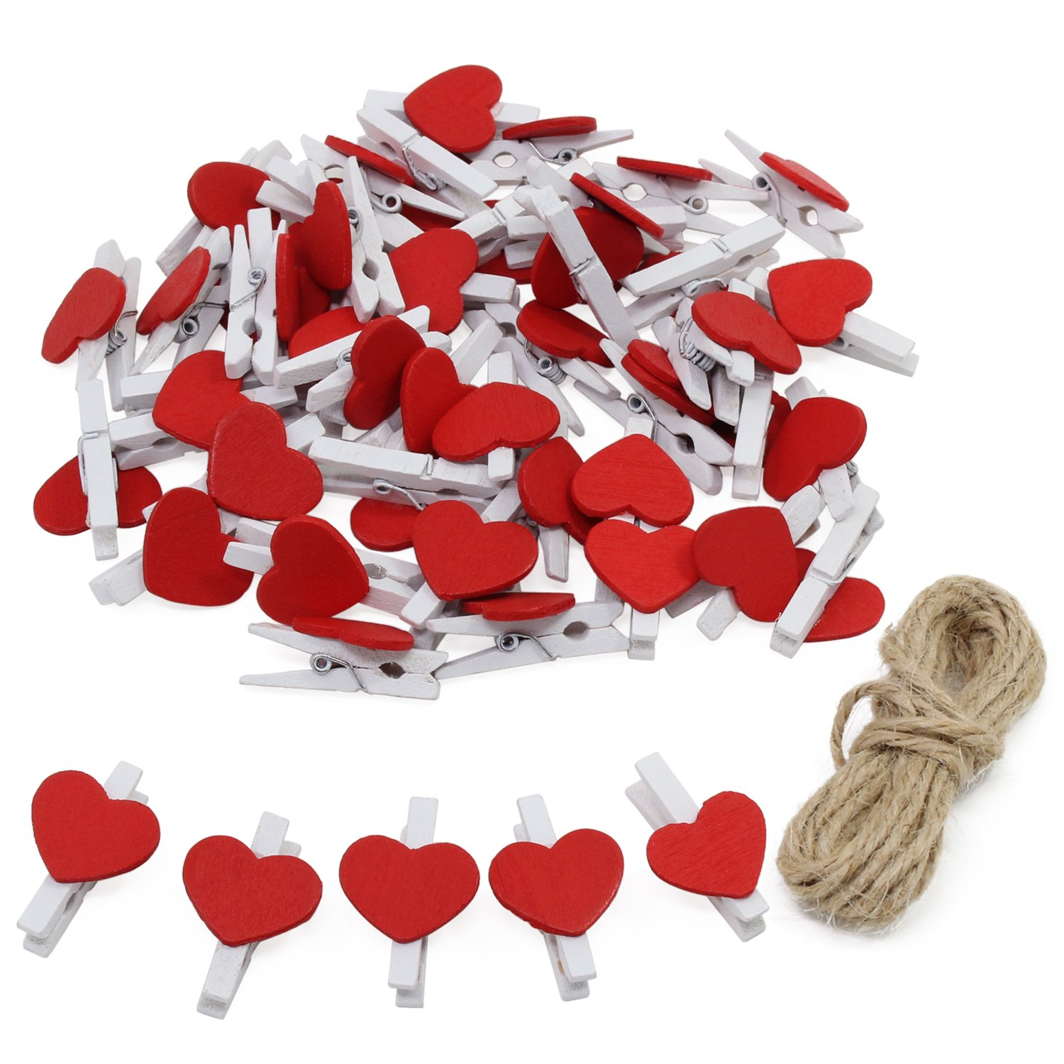 keesin foto Clips Clothespins Mini madera Natural Papel fotográfico pinzas con forma de corazón DIY Craft Clips con 10 m yute Twine 50pcs Colored Heart-50PCS
