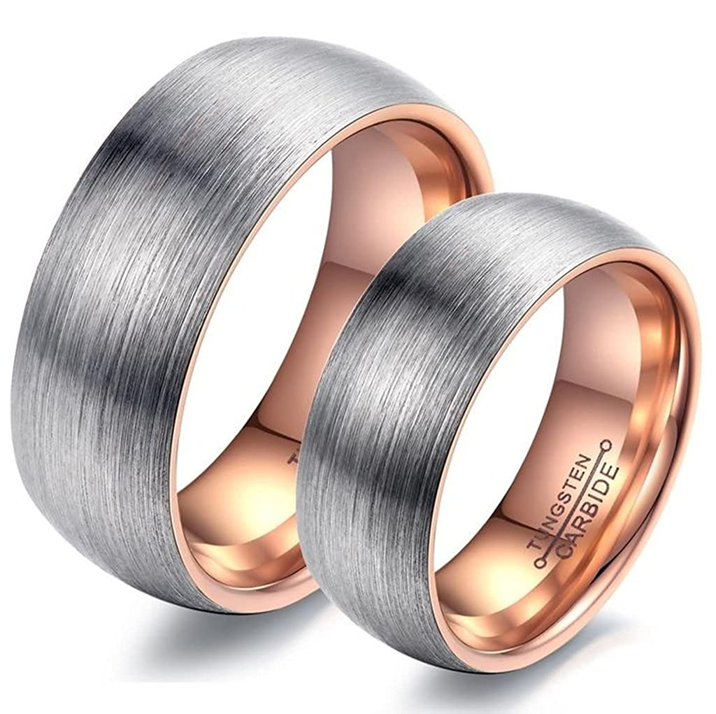 Bishilin 6MM Women Promise Ring Tungsten Rose Gold Plated Couple Wedding Band Size 6