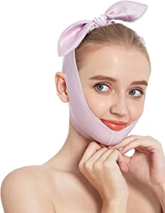 HYBB Soft Face Slimming Strap,Effective Double Chin Reducer Chin Lift Up Tighten Shaper,Skin Friendly Reusable V Line Lifting Mask,Skin Firm Bandage,Face Lifting Tape for Anti Aging Wrinkle Women