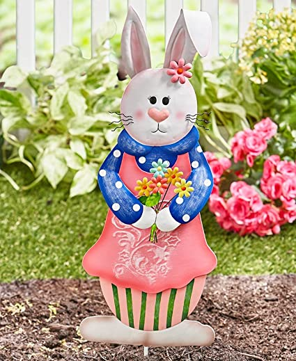 Superb The Lakeside Collection Easter Bunny Garden Stakes  Girl Bunny