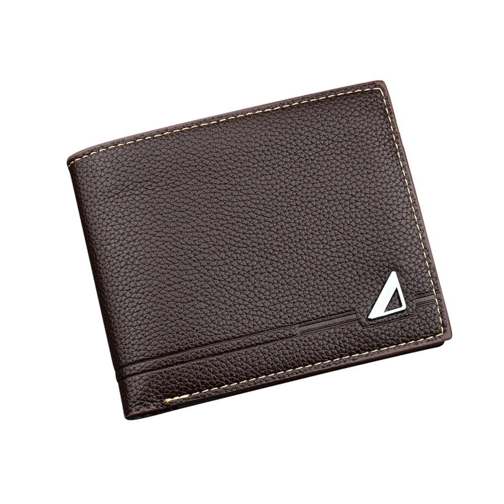 iVotre Short Wallet for Men, Tri- fold Design with Multi-Card Slots, PU Leather, Brand New and Fashion, Excellent Hardware, Ultra Slim Purse, Best Gift - Brown