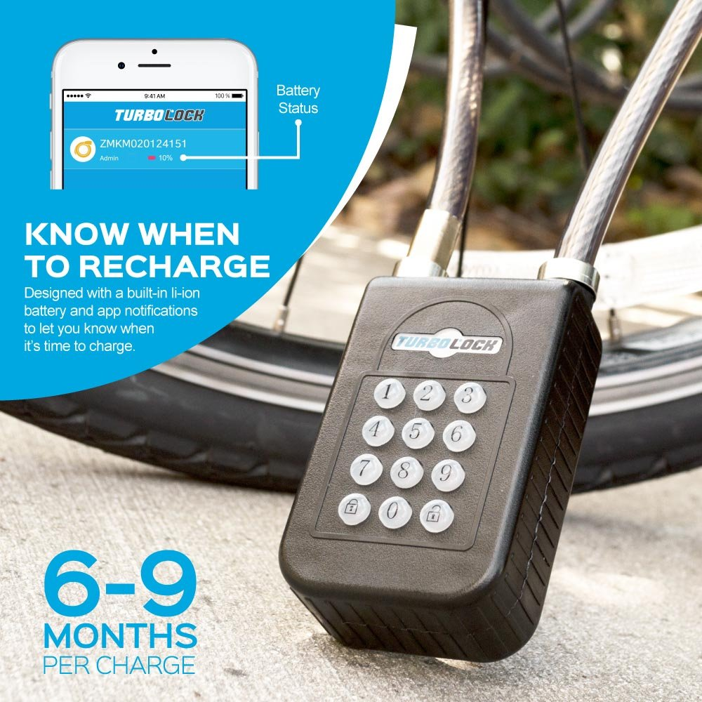 TURBOLOCK TL-400 Smart Bluetooth Keyless Bike Lock with Keypad and Sharable eKeys, Battery Powered, Waterproof & Weather Proof for Bicycles, Motorcycles, Gates & Fences by TURBOLOCK (Image #4)