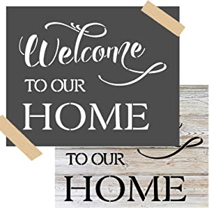 OCCdesign Welcome to Our Home Wedding Sign Stencils -Rustic Farmhouse Inspirational Template for Painting Spraying Crafts Décor