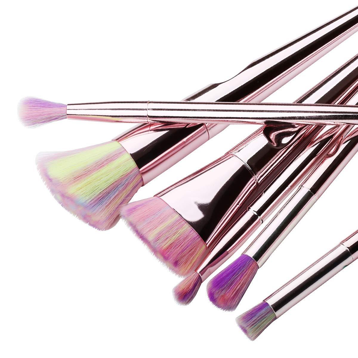 Cosmetic Brushes set Foundation Powder Concealers Eyeshadows Makeup 10 Pcs Brush Set, Rose Golden
