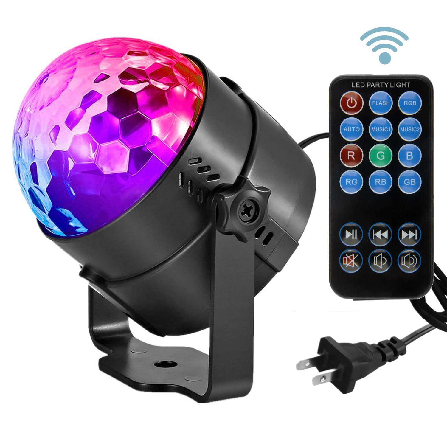A picture of a disco ball with a remote control.