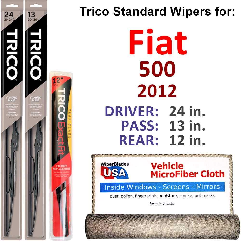 Amazon.com: Wiper Blades for 2012 Fiat 500 Driver & Passenger Trico Steel Wipers Set of 2 Bundled with Bonus MicroFiber Interior Car Cloth: Automotive