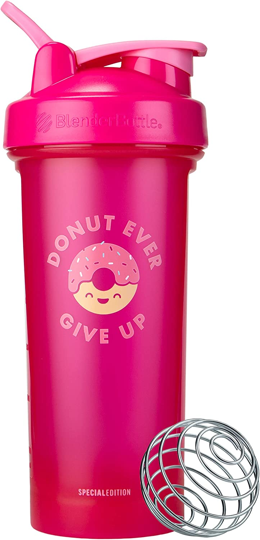 BlenderBottle Just For Fun Classic V2 Shaker Bottle, 28-Ounce, Donut Ever Give Up